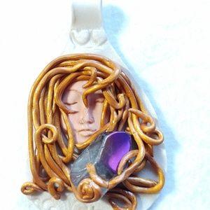 Jewelry - Aqua Aura lovingly wrapped in polymer clay